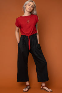 Black Wide-Leg Cropped Trouser