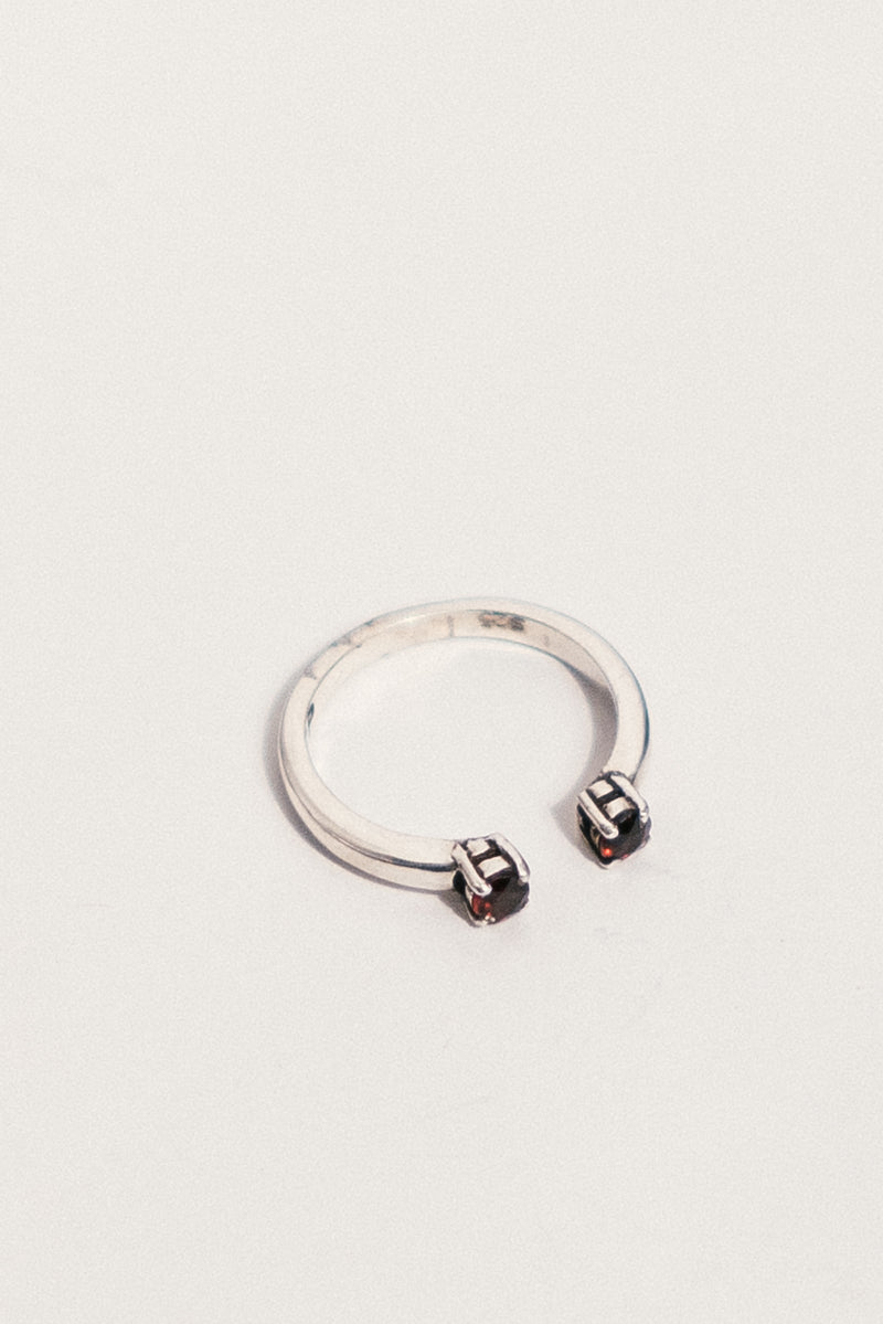 Silver Passage Ring with Garnet