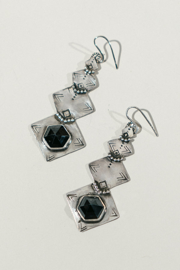 Stamped Diamond Earrings with Hematite