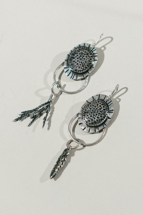 Fossil Coral Earrings with Lavender & Pine