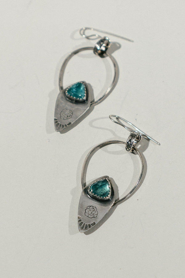 Stamped Pick Earrings with Apatite