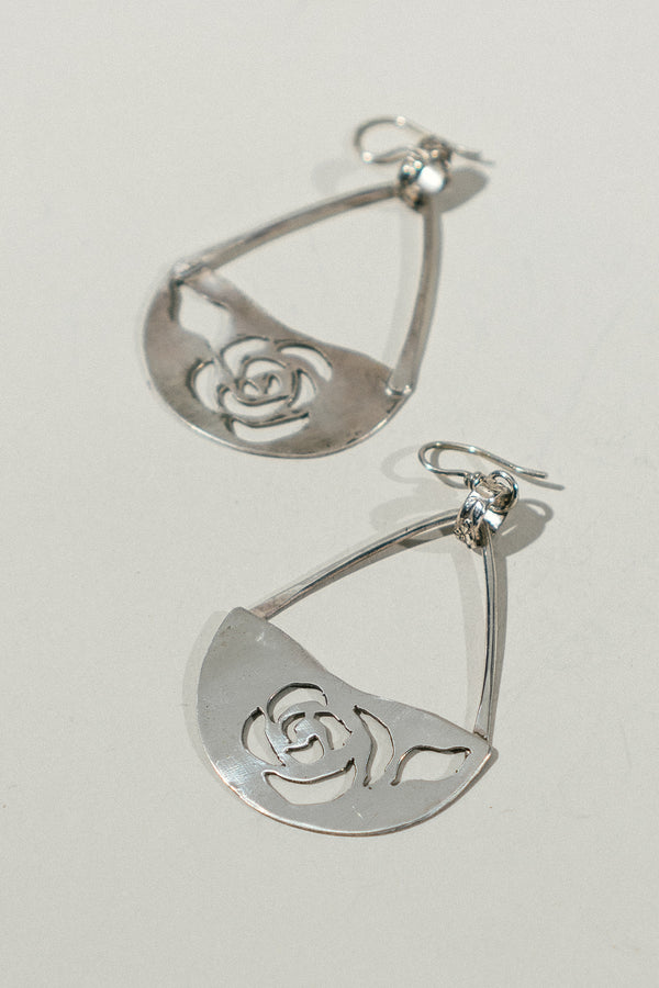 Silver Rose Cutout Earrings