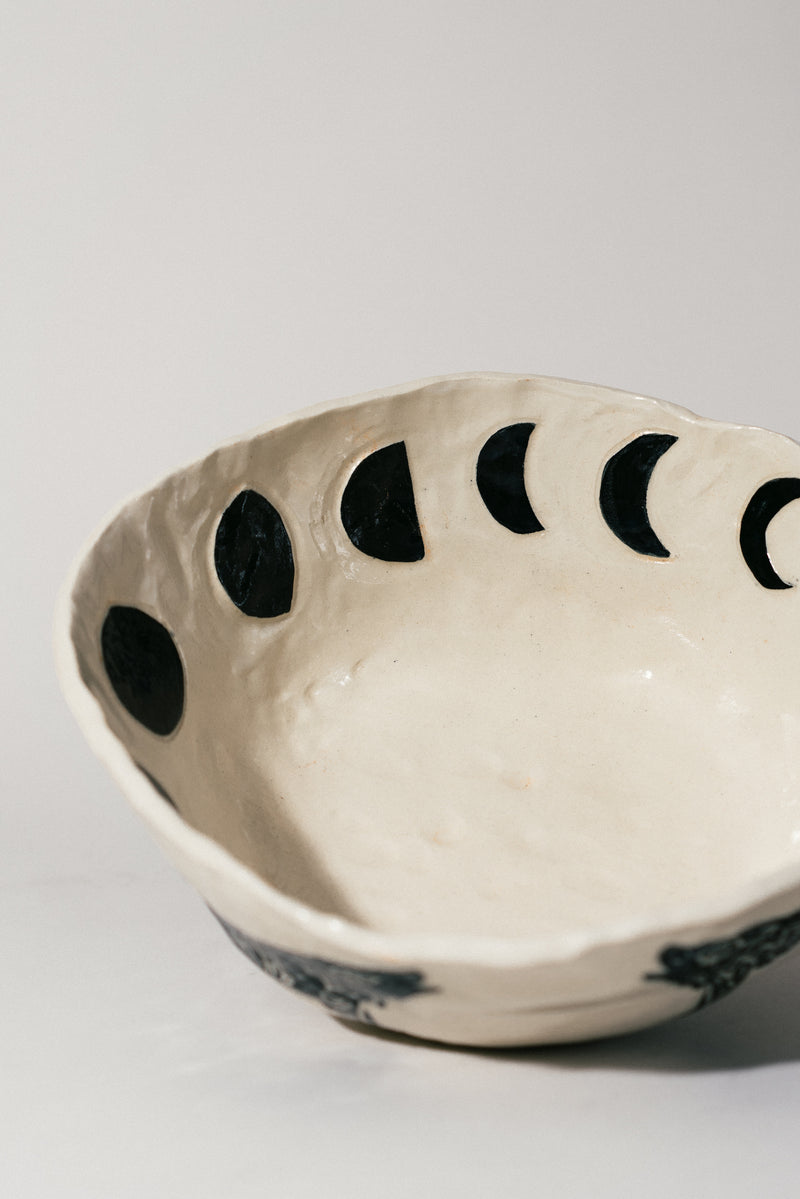 Wolf and Moon Serving Bowl