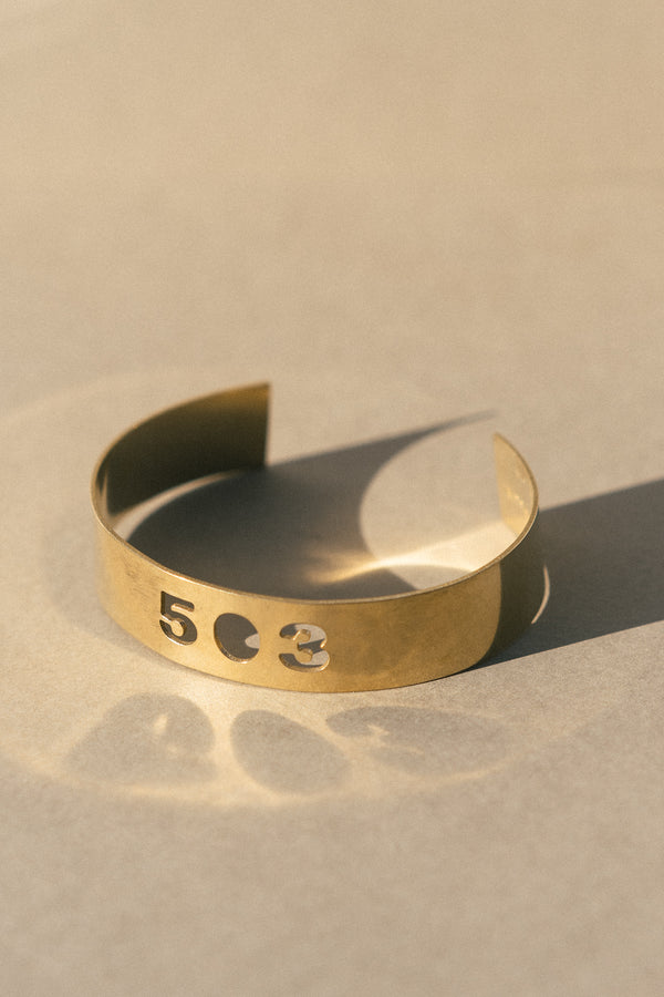 503 Area Code Brass Statement Cuff