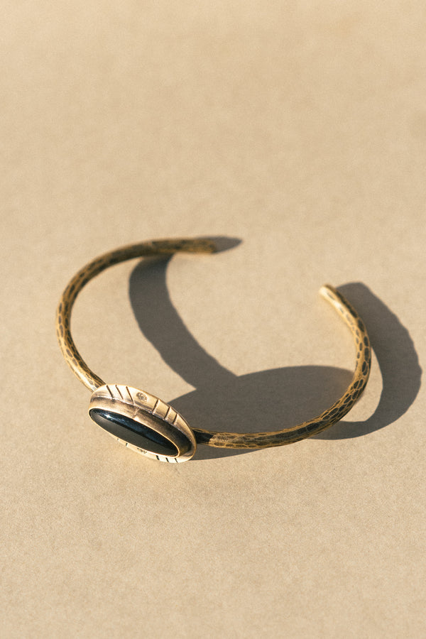 Brass and Black Onyx Cuff