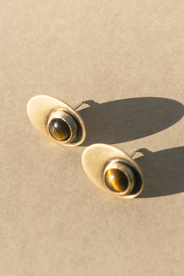 Brass and Tiger's Eye Stud Earrings