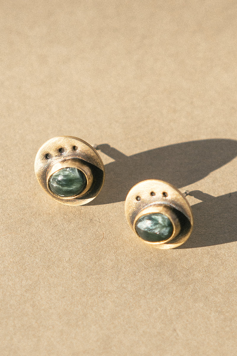 Brass and Seraphinite Angel Stone Stud Earrings