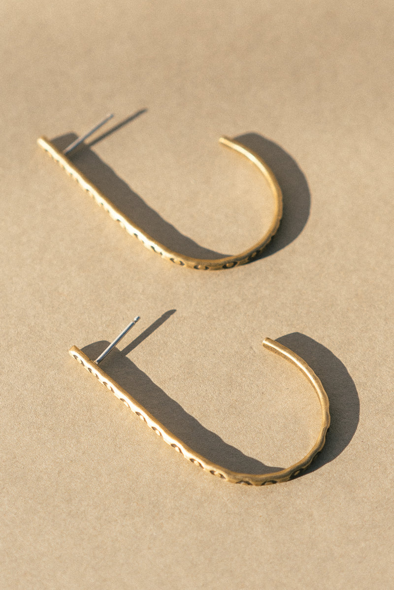 Brass Stamped J Hoop Earrings