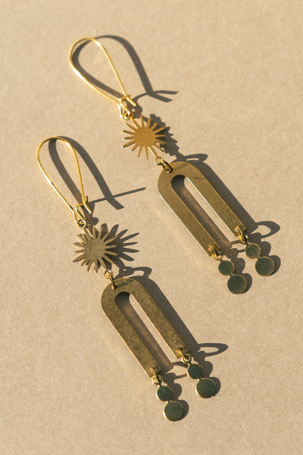Brass Narrow Arch Earrings with Sun and Dots