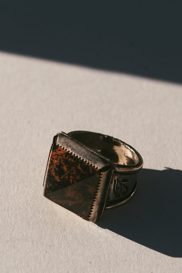 Red Obsidian Pyramid Wadjet Ring