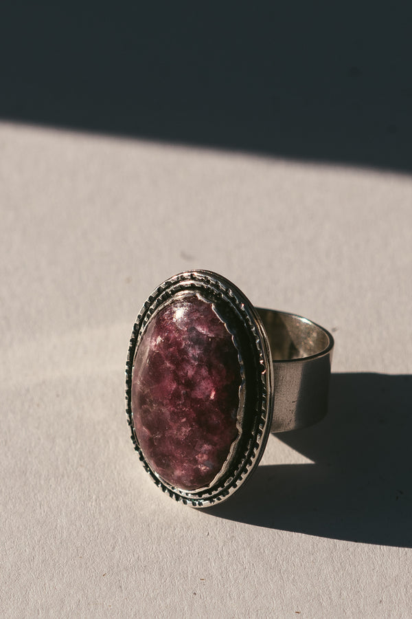 "Lepidolite ""Wild"" Wide Band Ring"