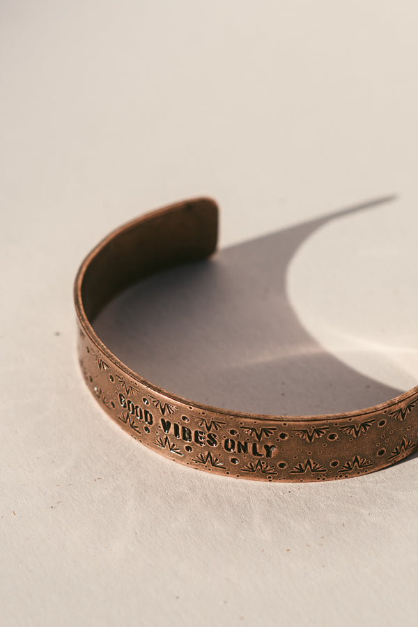 "Copper ""Good Vibes Only"" Cuff Bracelet"
