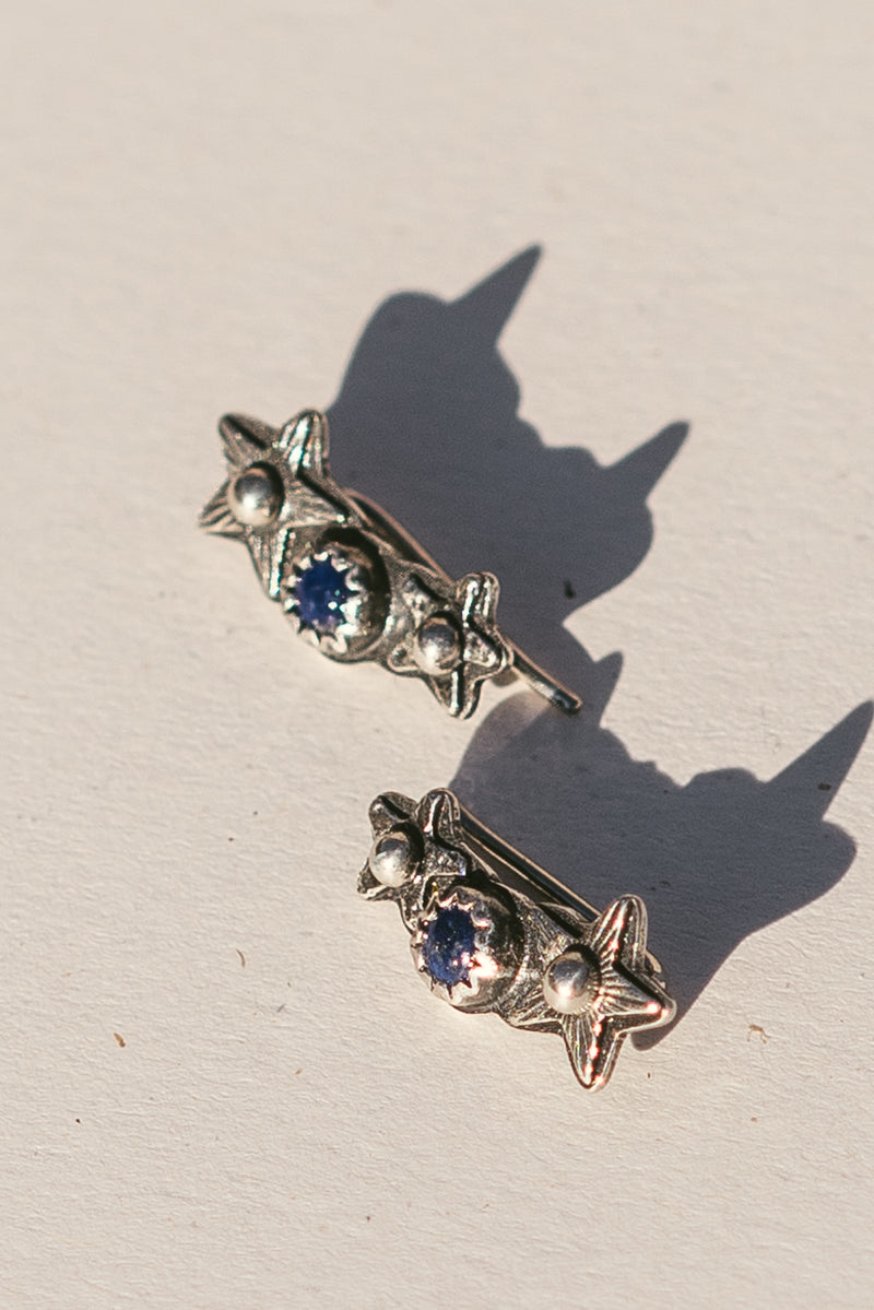 Star Climber Earrings with Stone