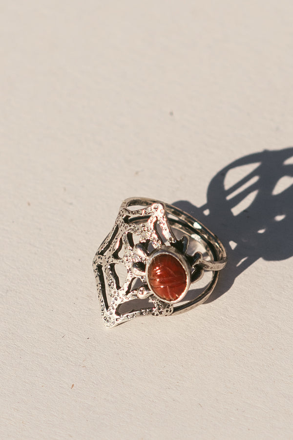 Carnelian Spiderweb Ring