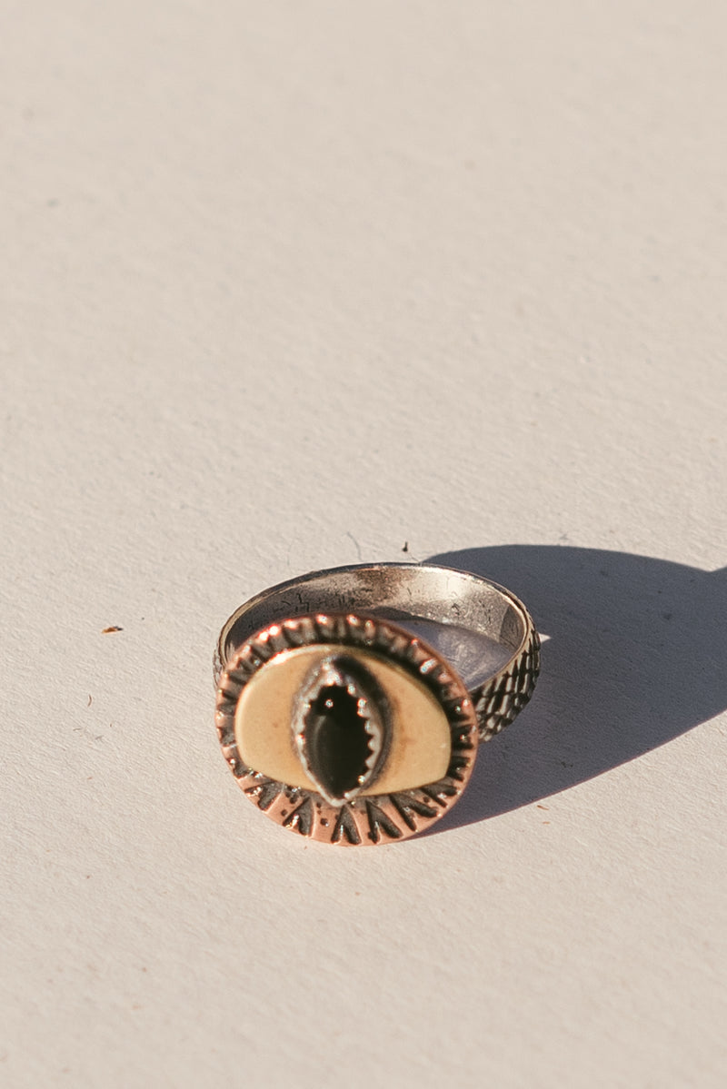 Mixed Metal Eye Ring with Black Onyx
