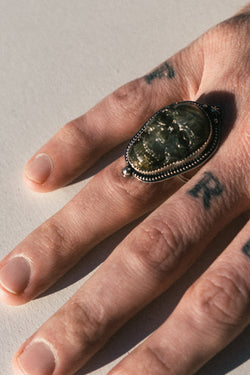 Labradorite Carved Skull Ring