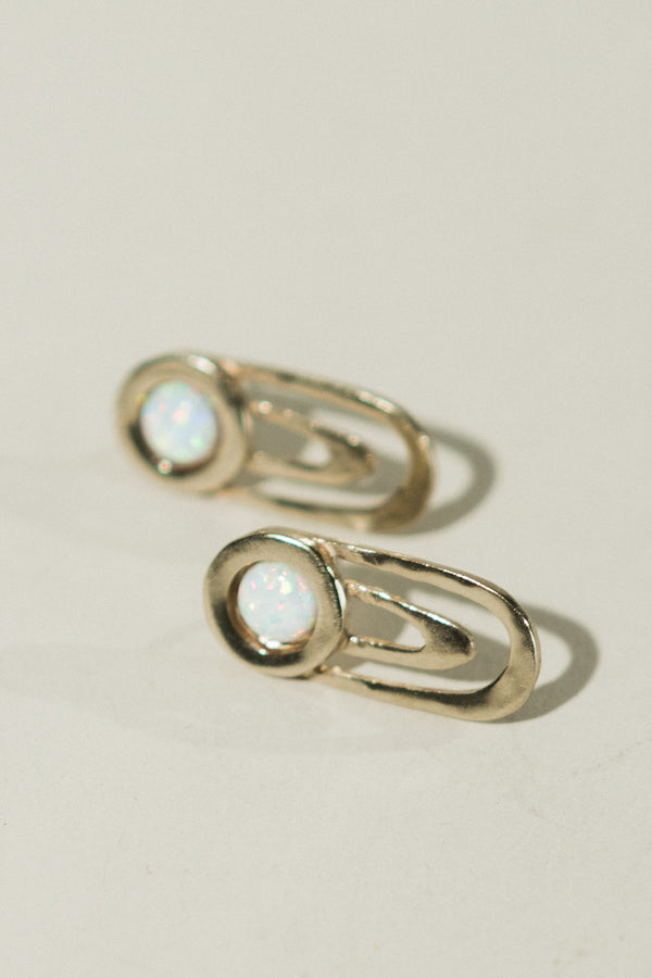 Ripple Earrings with Opal
