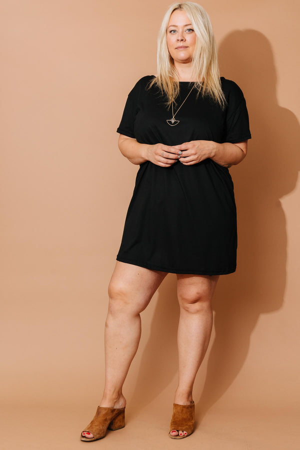 Black Modal T-Shirt Dress - Short
