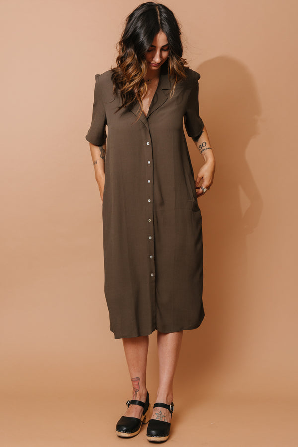 Green T-Length Button Down Dress