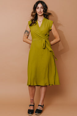 Golden Moss Wrap Dress