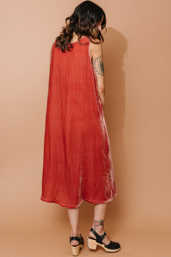 Coral Velvet T-Length Shift Dress Made-to-Order (Online Only)