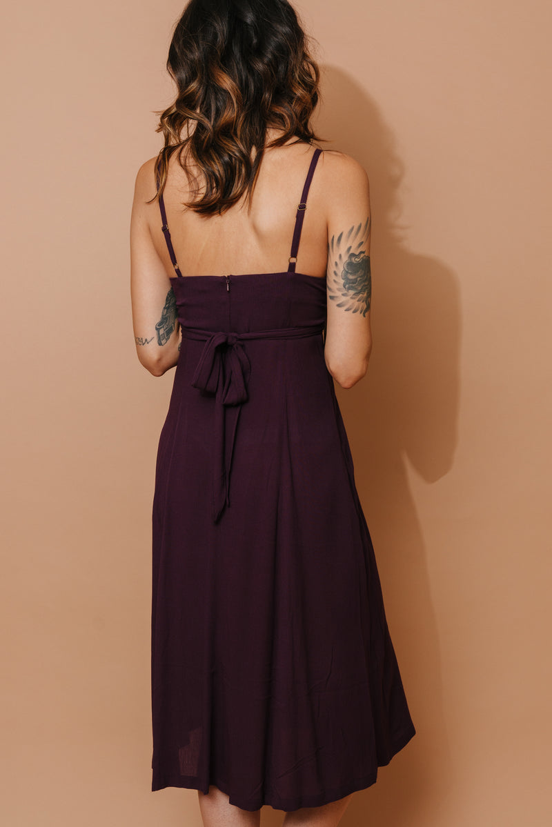 Cross Over Dress in Eggplant