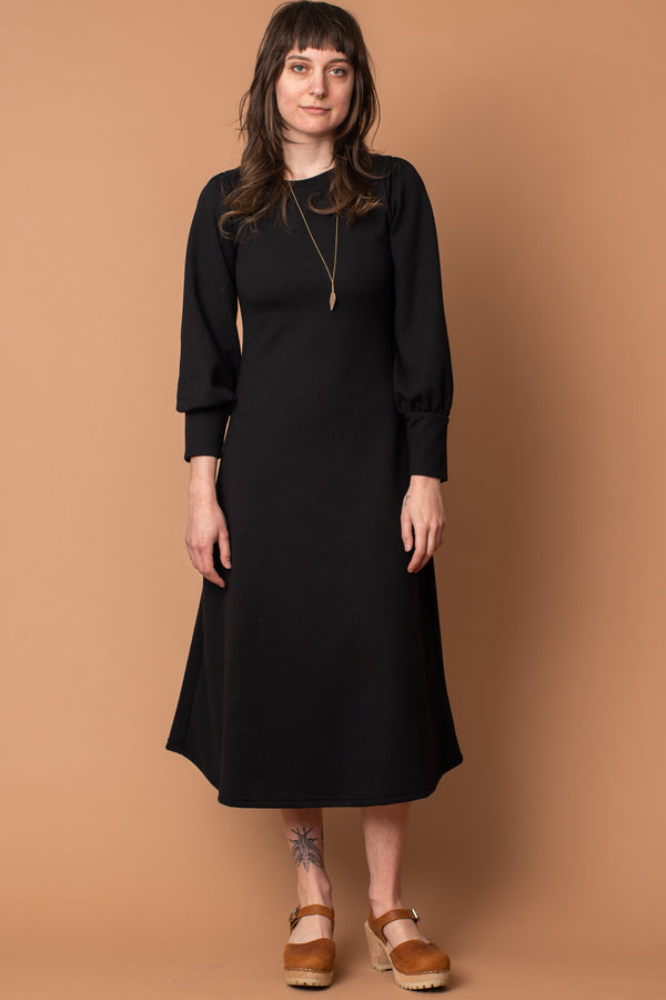 Slim Fit Black Bishop Sleeve Sweater Dress