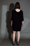 Black Cupro Batwing Dress