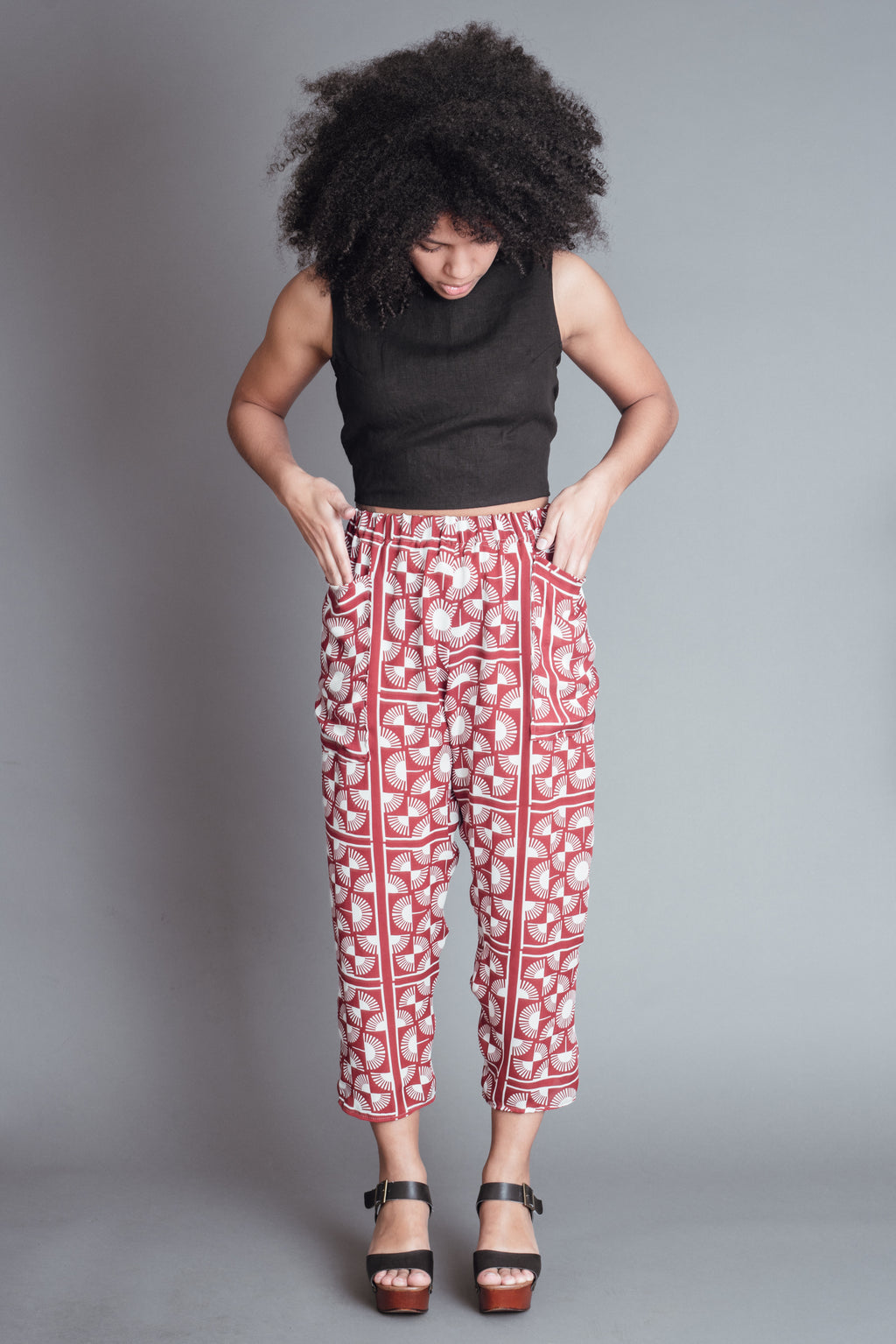 Red Silk Fan Pants