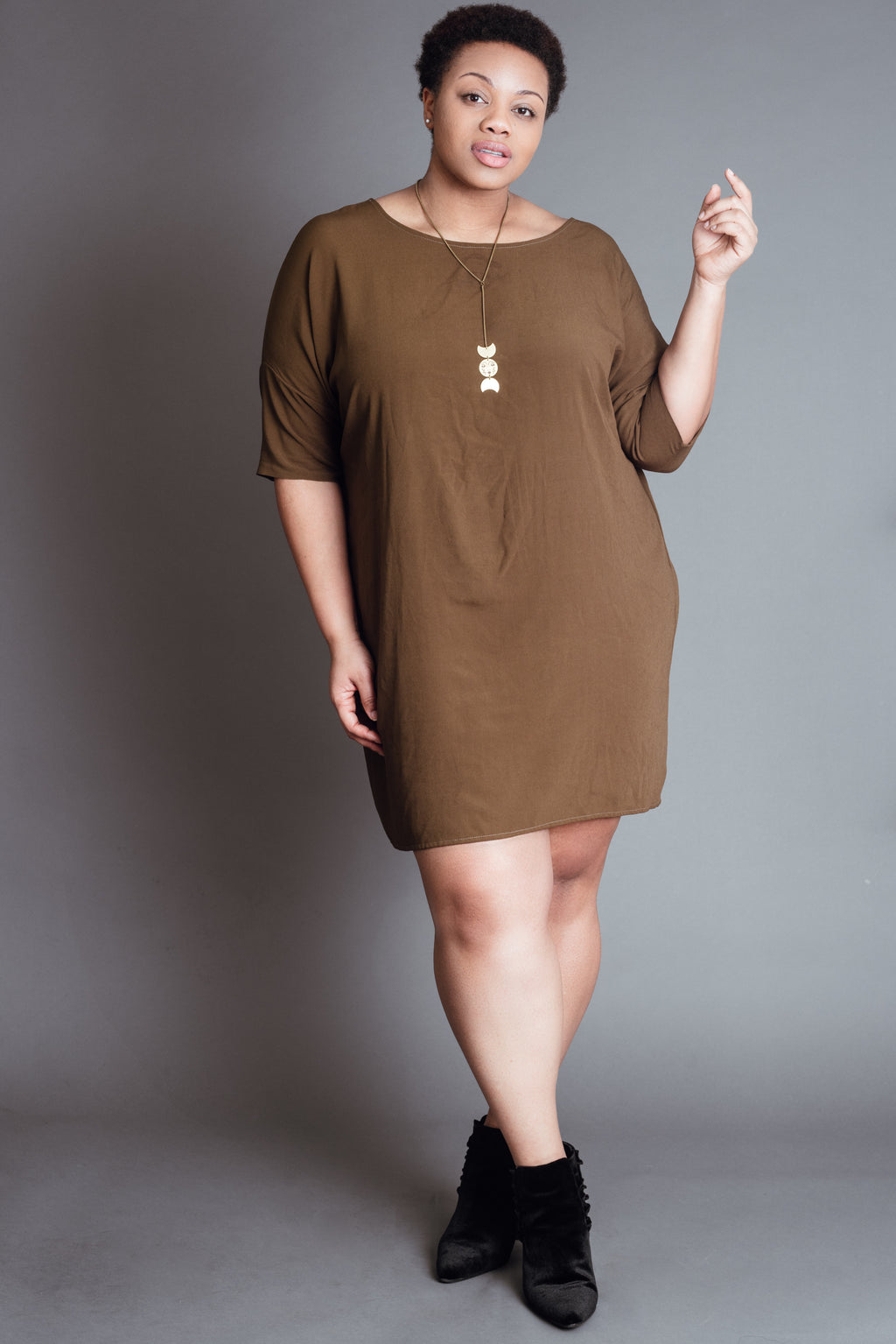 Olive Crepe Batwing Dress