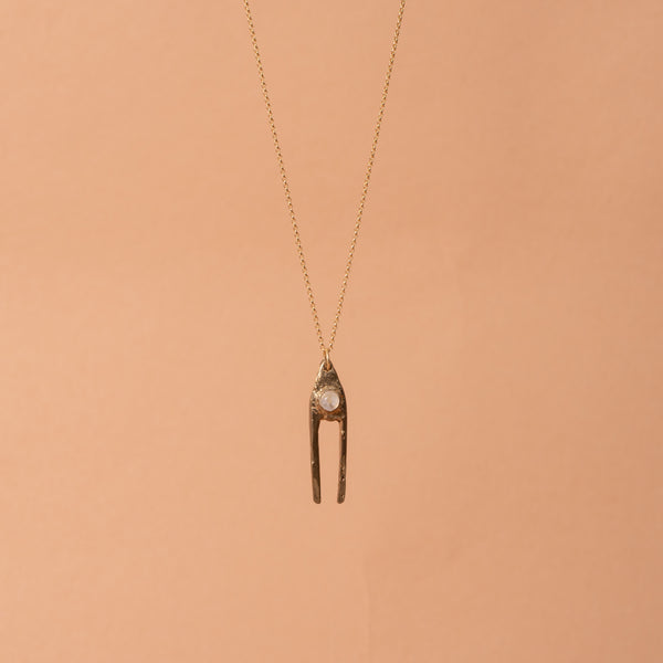 Brass Dual Pendant Necklace with Moonstone