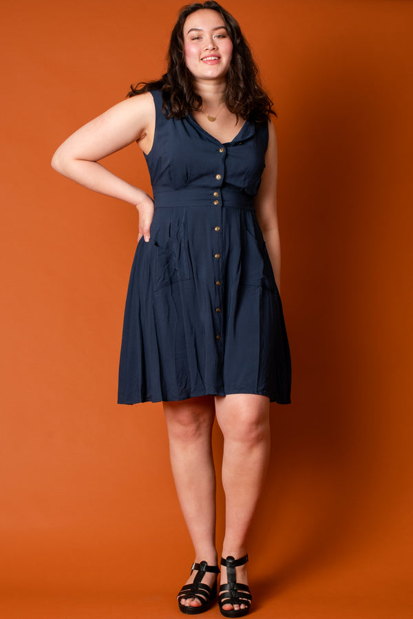 Sheet Dress in Navy Challis +