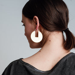 Circle Disc Earrings with Rectangle Cutout