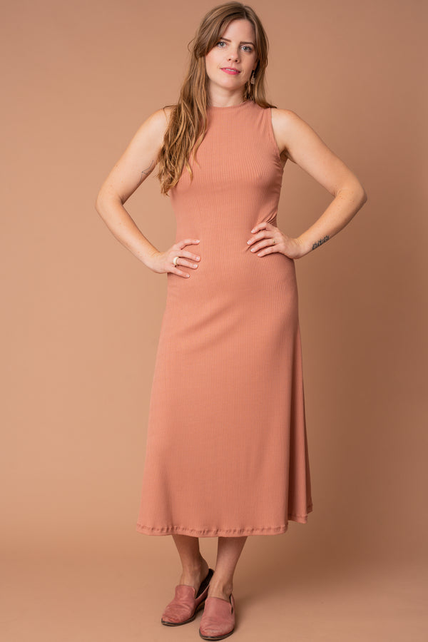 Dusty Rose Mock Turtleneck Rib-knit Dress