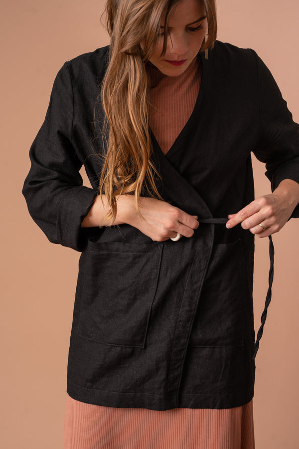 Lightweight Black Linen Jacket