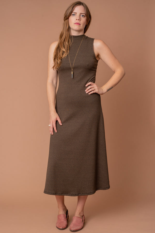 Olive Mock Turtleneck Rib-knit Dress