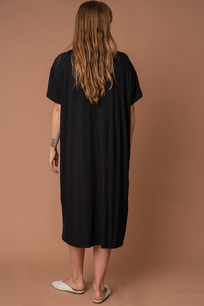 Black Modal T-Shirt Dress - Long
