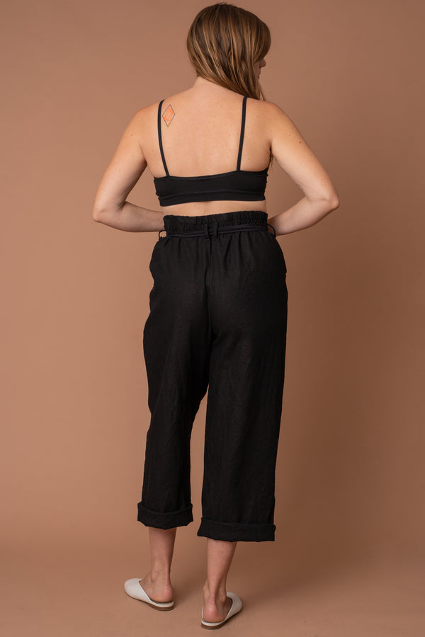Black Linen Paperbag Trouser
