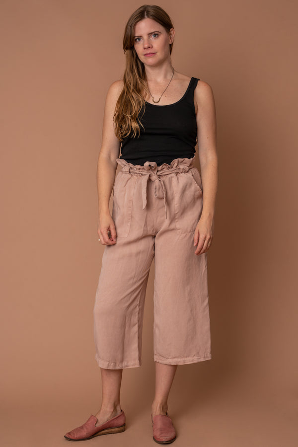 Pink Tencel Paper Bag Pants