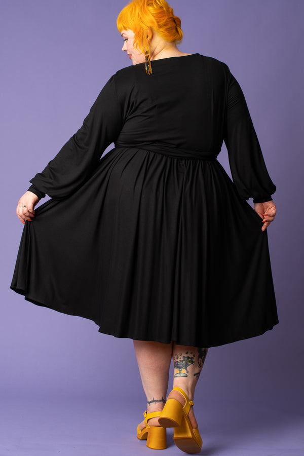 Black Boat Neck Flare Dress