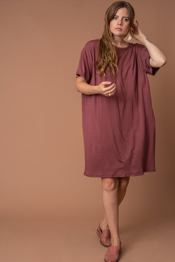 Dusty Rose Model T-Shirt Dress