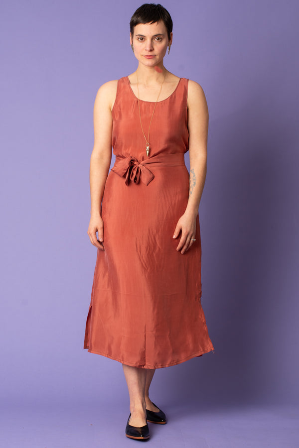 Terra Cotta Cupro Tie-Waist Dress