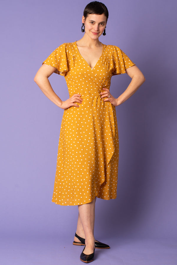 Mustard Polka Dot Wrap Dress