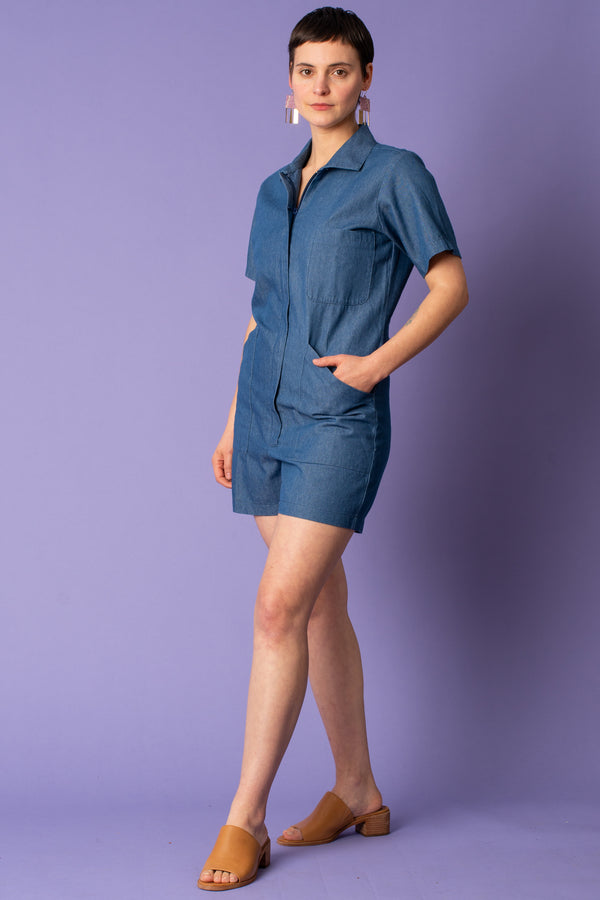 Union Shortall Jumper in Washed Denim