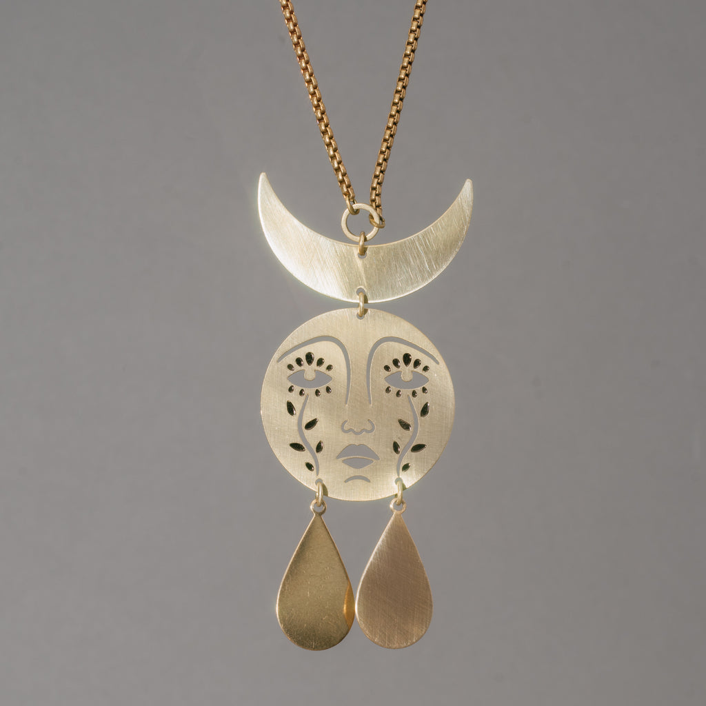 Crying Crescent Face Necklace