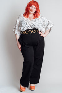 High Waisted Wide Leg Black Slacks