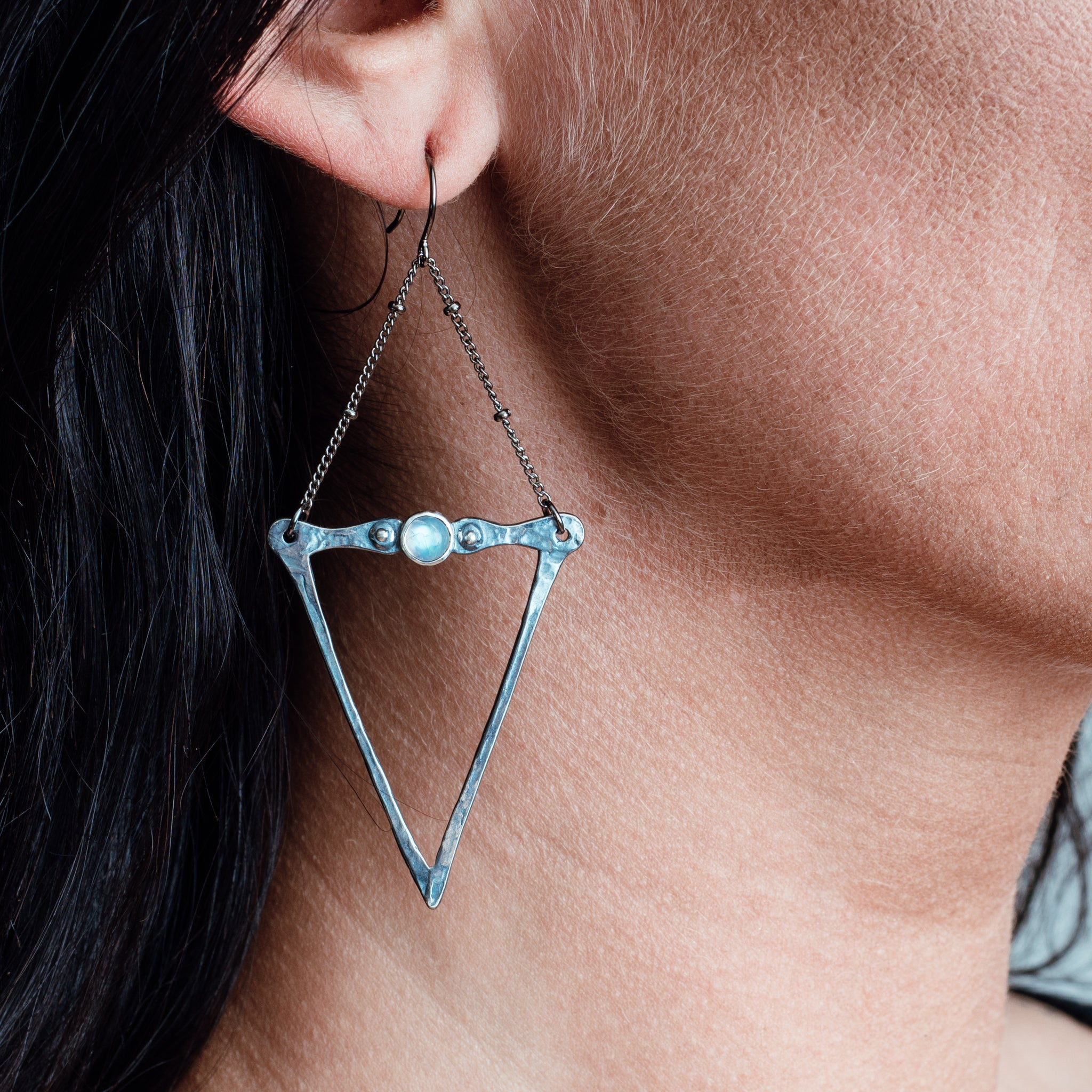 Silver Dart and Moonstone Earrings