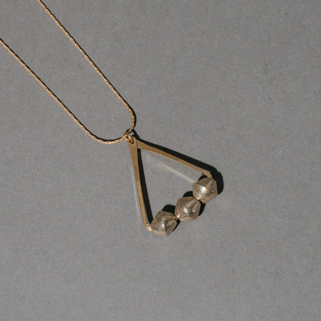 Triangle Necklace with Three Silver Beads