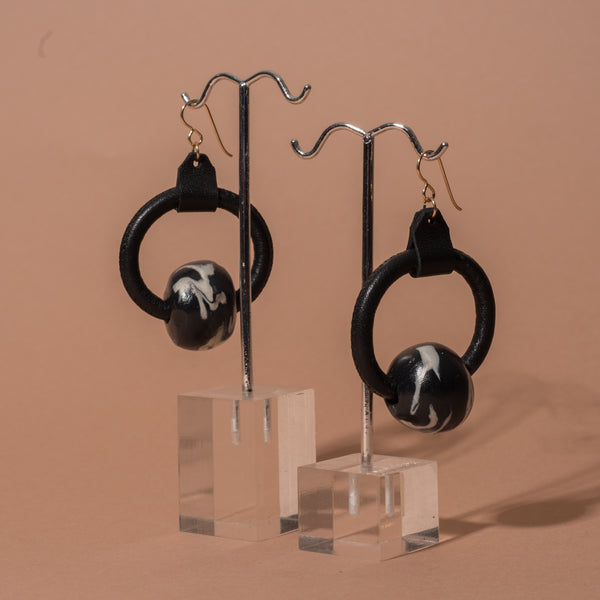 Loop Earrings with Marble Beads