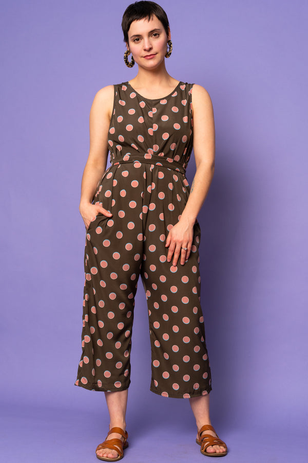 Watermelon Dotted Tie-Waist Jumpsuit